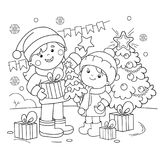Coloring Page Outline Of children with gifts at Christmas tree.Christmas. New year. Coloring book for kids. Coloring Page Outline Of children with gifts at Royalty Free Stock Images