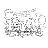 Coloring Page Outline Of children with a gifts at the holiday. Birthday. Coloring book for kids. Coloring Page Outline Of children with a gifts at the holiday Stock Image