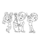 Coloring Page Outline Of children playing musical instruments. Stock Images