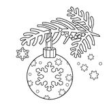 Coloring Page Outline Of Christmas decoration. Christmas tree branch. New year. Coloring book for kids. Royalty Free Stock Photo