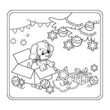 Coloring Page Outline Of Christmas tree with ornaments and gifts with puppy. The year of the dog. Christmas. New year. Coloring book for kids Royalty Free Stock Image