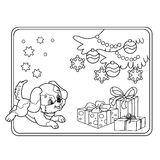 Coloring Page Outline Of Christmas tree with ornaments and gifts with puppy. The year of the dog. Christmas. New year. Coloring book for kids Stock Photography