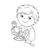 Coloring page outline of Cute boy with rose  in hand Stock Images