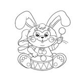 Coloring Page Outline Of a cute Bunny with a drum Royalty Free Stock Photos