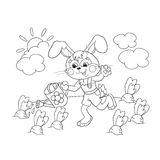 Coloring Page Outline Of a cute Bunny with watering can Stock Image
