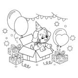 Coloring Page Outline Of cute puppy. Cartoon dog with bow. Gift for the holiday. Birthday. Coloring book for kids. Stock Photo