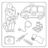 Coloring Page Outline Of doctor. Set of medical instruments Royalty Free Stock Image