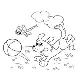 Coloring Page Outline Of  dog with ball  Stock Images