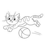 Coloring Page Outline Of a fluffy cat playing with ball Stock Images