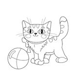 Coloring Page Outline Of a fluffy kitten playing with ball Stock Images