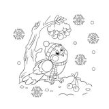 Coloring Page Outline Of a funny bird in winter Royalty Free Stock Images