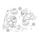 Coloring Page Outline Of funny birds in winter Royalty Free Stock Photos