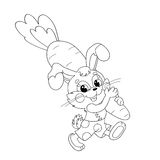 Coloring Page Outline Of funny Bunny carrying big carrot Royalty Free Stock Image