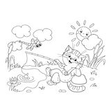 Coloring Page Outline Of a funny cat catching a fish. On a pond Stock Photos