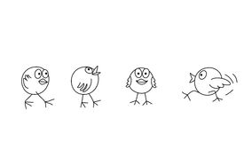 Coloring page outline of funny chicks Stock Photos