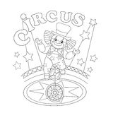 Coloring Page Outline Of a funny clown Stock Photography