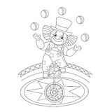 Coloring Page Outline Of a funny clown juggling balls Royalty Free Stock Photography