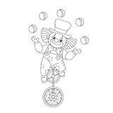 Coloring Page Outline Of a funny clown juggling balls Royalty Free Stock Photos