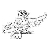 Coloring page outline of funny singing bird Stock Image