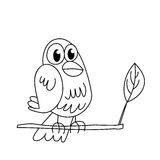 Coloring page outline of funny sitting bird Stock Image