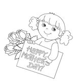 Coloring page outline of girl with card for Mother's Day  Royalty Free Stock Images
