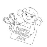 Coloring page outline of girl with card for Mother's Day Royalty Free Stock Image