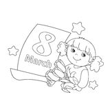 Coloring page outline of girl with flowers with calendar.  Royalty Free Stock Photography