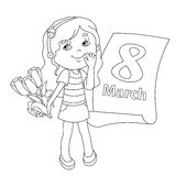 Coloring page outline of girl with flowers. March 8. Stock Image