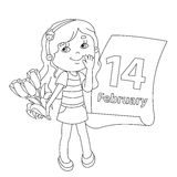 Coloring page outline of girl with flowers. Valentine's day. Royalty Free Stock Photo