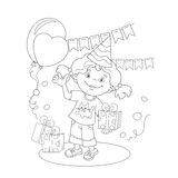 Coloring Page Outline Of girl with a gift at the holiday Stock Photos