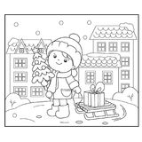Coloring Page Outline Of girl with gifts at Christmas tree. Christmas. New year. Coloring book for kids. royalty free illustration