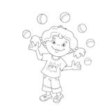 Coloring Page Outline Of girl juggling the balls Royalty Free Stock Image
