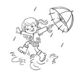 Coloring Page Outline Of a girl jumping in the rain. Coloring Page Outline Of a Cartoon joyful girl jumping in the rain with an umbrella Stock Photos