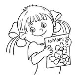 Coloring Page Outline Of a girl with a picture stock illustration