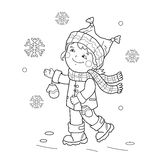 Coloring Page Outline Of girl rejoicing in the first snow. Coloring Page Outline Of cartoon girl rejoicing in the first snow. Winter. Coloring book for kids Royalty Free Stock Photos