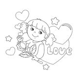 Coloring page outline of girl with rose in hand with hearts Stock Photo