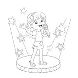 Coloring Page Outline Of girl singing a song on stage Stock Photo