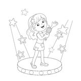 Coloring Page Outline Of girl singing a song on stage Royalty Free Stock Photography