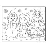 Coloring Page Outline Of girl with Snowman and Christmas tree. C. Hristmas. New year. Coloring book for kids Stock Photos
