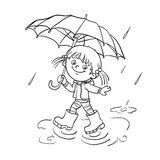 Coloring Page Outline Of a girl walking in the rain Royalty Free Stock Photos