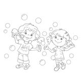 Coloring Page Outline Of girls blowing soap bubbles together. Coloring Page Outline Of cartoon girls blowing soap bubbles together. Coloring book for kids Royalty Free Stock Photo
