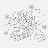 Coloring Page Outline Of a happy Bunny sledding Royalty Free Stock Photos