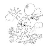 Coloring Page Outline Of a happy chicken walking with a balloon Stock Photo