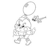 Coloring Page Outline Of a happy chicken walking with a balloon Stock Images