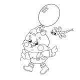 Coloring Page Outline Of a happy chicken walking with a balloon Royalty Free Stock Photography