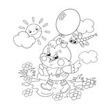 Coloring Page Outline Of a happy chicken walking with a balloon Royalty Free Stock Photo