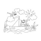 Coloring Page Outline Of a Jolly frog floating on a boat.  royalty free illustration