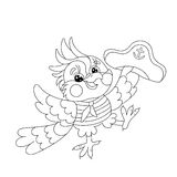 Coloring Page Outline Of joyful parrot sailor Stock Photo