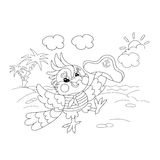 Coloring Page Outline Of joyful parrot sailor on the island Stock Photography