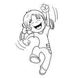 Coloring Page Outline Of A Jumping Girl Stock Images